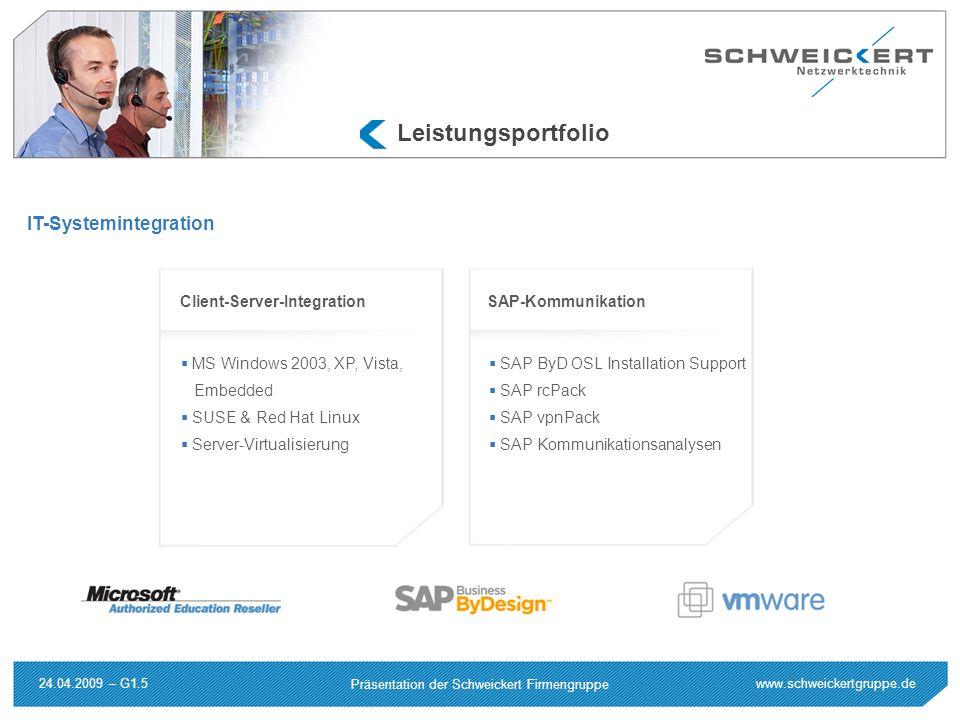 www.schweickertgruppe.de Präsentation der Schweickert Firmengruppe 24.04.2009 – G1.5 Leistungsportfolio IT-Systemintegration MS Windows 2003, XP, Vist