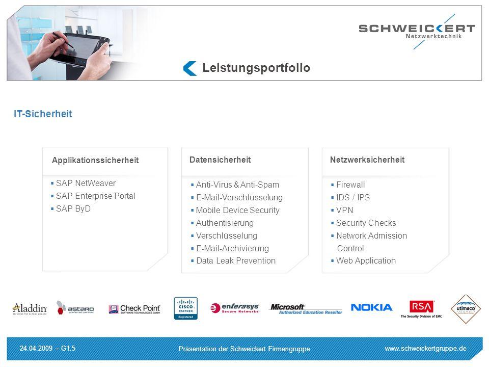 www.schweickertgruppe.de Präsentation der Schweickert Firmengruppe 24.04.2009 – G1.5 Applikationssicherheit SAP NetWeaver SAP Enterprise Portal SAP By