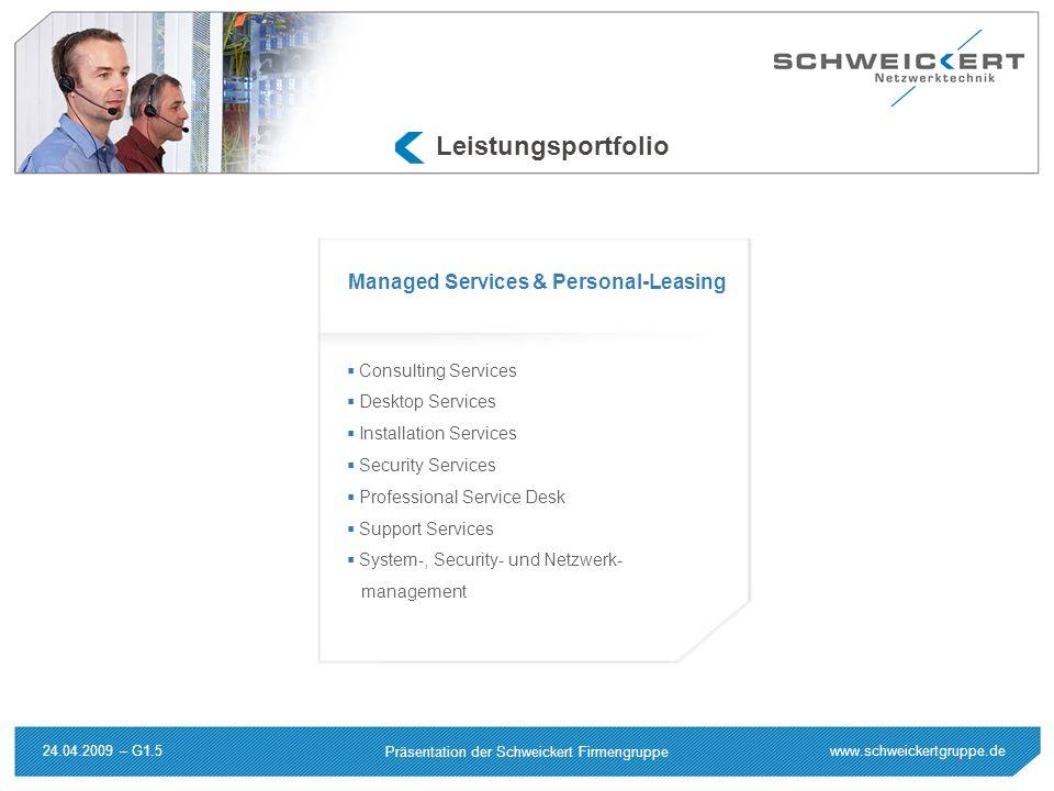 www.schweickertgruppe.de Präsentation der Schweickert Firmengruppe 24.04.2009 – G1.5 Leistungsportfolio Consulting Services Desktop Services Installat