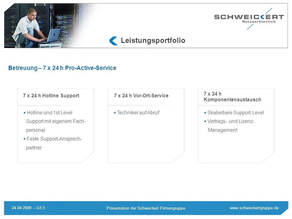 www.schweickertgruppe.de Präsentation der Schweickert Firmengruppe 24.04.2009 – G1.5 Leistungsportfolio Hotline und 1st Level Support mit eigenem Fach
