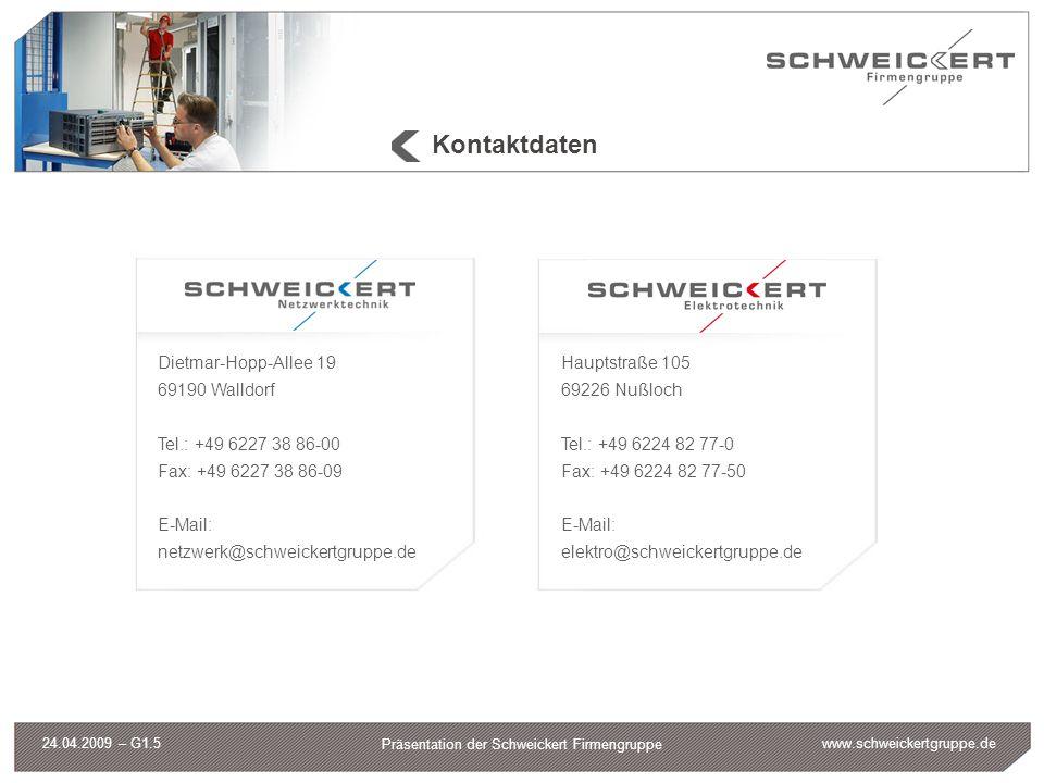 www.schweickertgruppe.de Präsentation der Schweickert Firmengruppe 24.04.2009 – G1.5 Kontaktdaten Dietmar-Hopp-Allee 19 69190 Walldorf Tel.: +49 6227