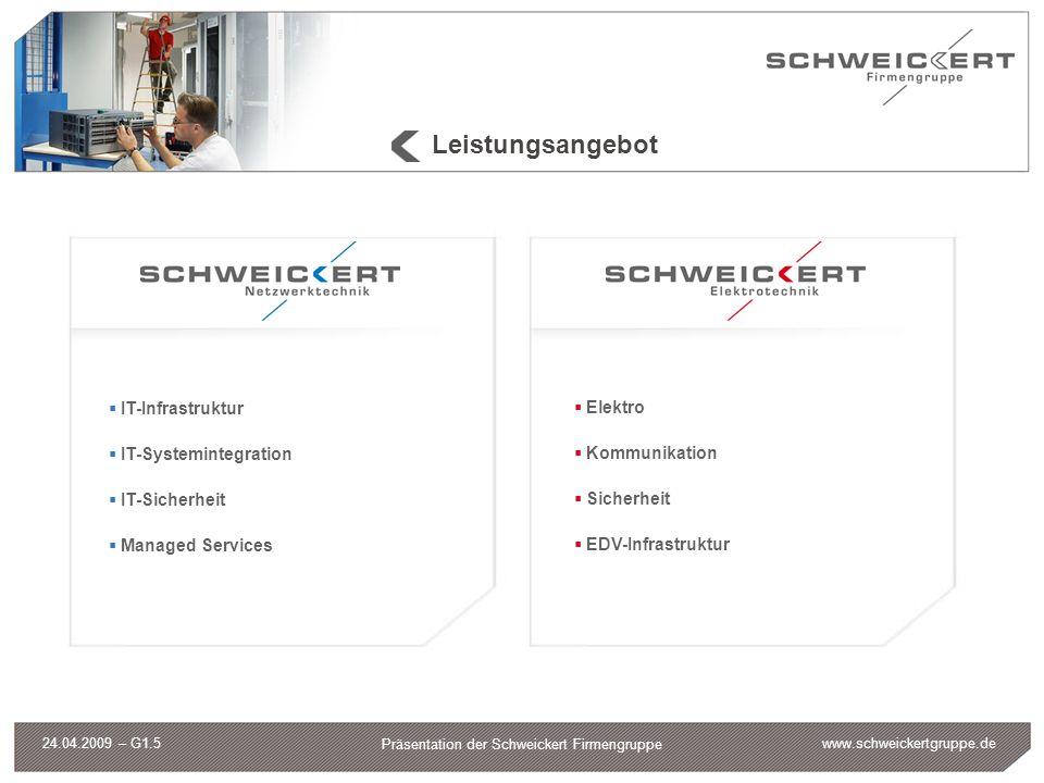 www.schweickertgruppe.de Präsentation der Schweickert Firmengruppe 24.04.2009 – G1.5 Leistungsangebot IT-Infrastruktur IT-Systemintegration IT-Sicherh