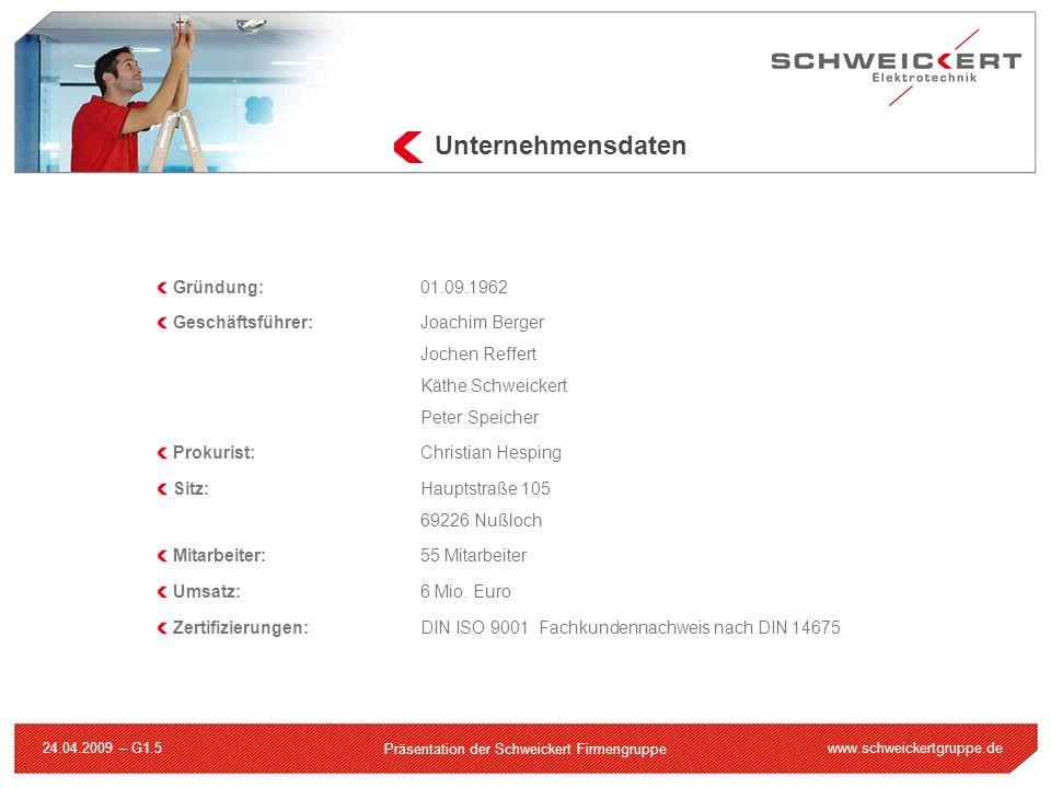 www.schweickertgruppe.de Präsentation der Schweickert Firmengruppe 24.04.2009 – G1.5 Gründung:01.09.1962 Geschäftsführer:Joachim Berger Jochen Reffert