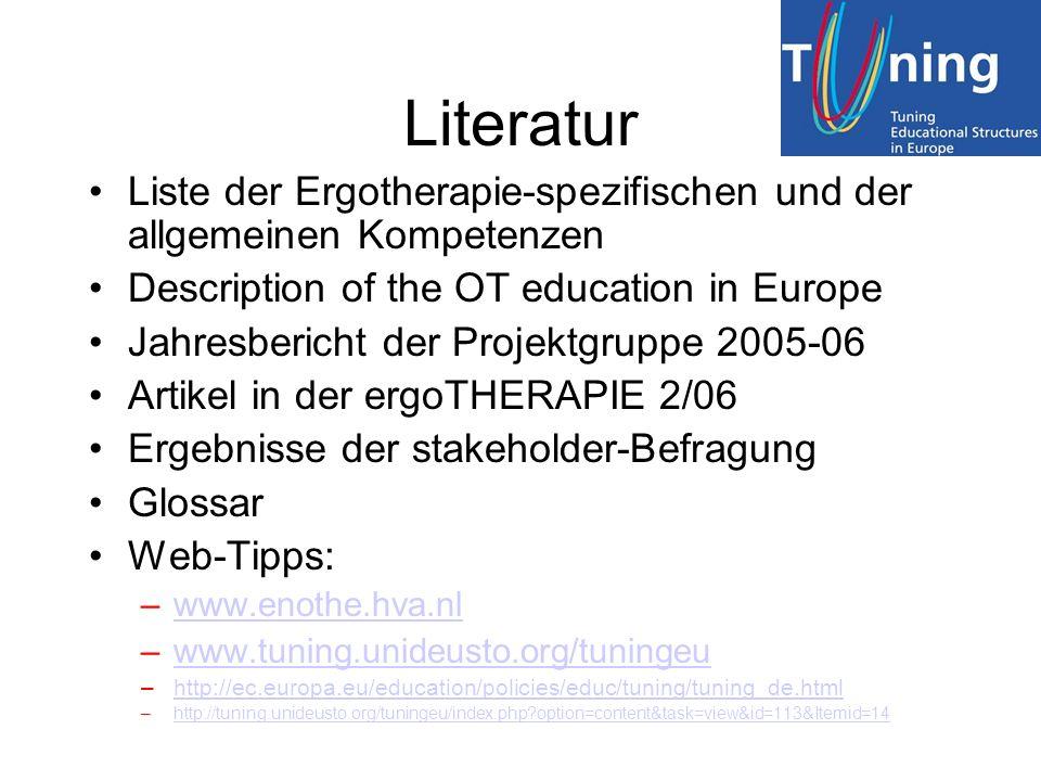 Literatur Liste der Ergotherapie-spezifischen und der allgemeinen Kompetenzen Description of the OT education in Europe Jahresbericht der Projektgrupp