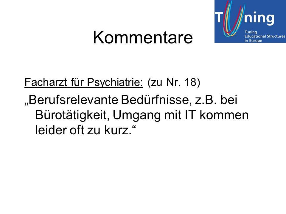 Kommentare Facharzt für Psychiatrie: (zu Nr. 18) Berufsrelevante Bedürfnisse, z.B. bei Bürotätigkeit, Umgang mit IT kommen leider oft zu kurz.