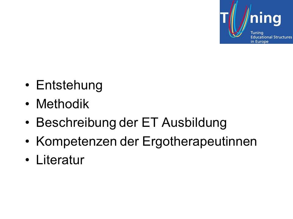 Literatur Liste der Ergotherapie-spezifischen und der allgemeinen Kompetenzen Description of the OT education in Europe Jahresbericht der Projektgruppe 2005-06 Artikel in der ergoTHERAPIE 2/06 Ergebnisse der stakeholder-Befragung Glossar Web-Tipps: –www.enothe.hva.nlwww.enothe.hva.nl –www.tuning.unideusto.org/tuningeuwww.tuning.unideusto.org/tuningeu –http://ec.europa.eu/education/policies/educ/tuning/tuning_de.htmlhttp://ec.europa.eu/education/policies/educ/tuning/tuning_de.html –http://tuning.unideusto.org/tuningeu/index.php?option=content&task=view&id=113&Itemid=14http://tuning.unideusto.org/tuningeu/index.php?option=content&task=view&id=113&Itemid=14