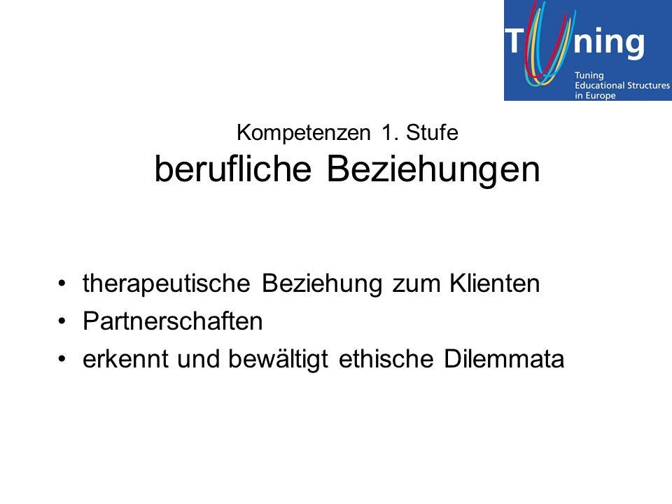 Kompetenzen 1. Stufe berufliche Beziehungen therapeutische Beziehung zum Klienten Partnerschaften erkennt und bewältigt ethische Dilemmata