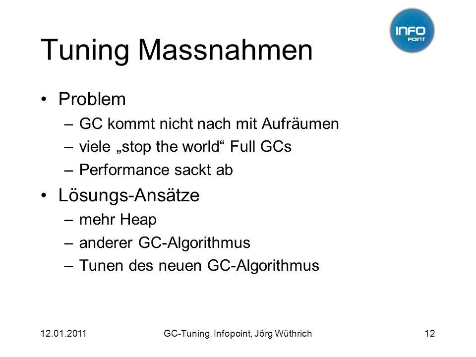 12.01.2011GC-Tuning, Infopoint, Jörg Wüthrich12 Tuning Massnahmen Problem –GC kommt nicht nach mit Aufräumen –viele stop the world Full GCs –Performan