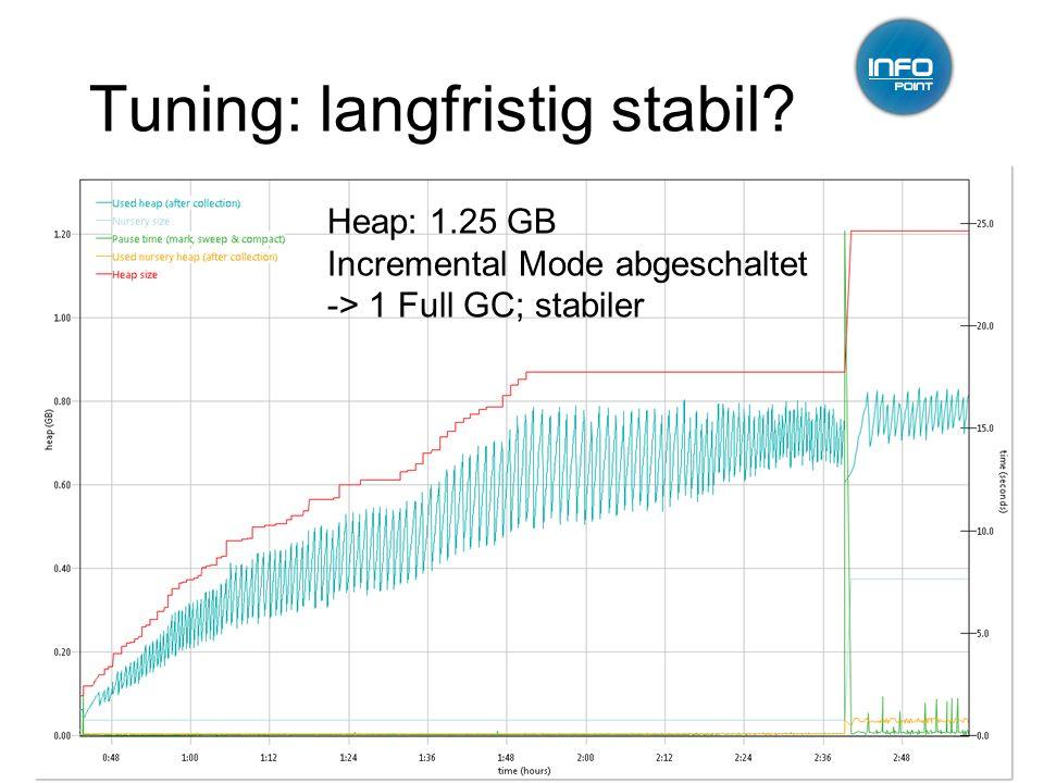 Tuning: langfristig stabil? 12.01.2011GC-Tuning, Infopoint, Jörg Wüthrich15 Heap: 1.25 GB Incremental Mode abgeschaltet -> 1 Full GC; stabiler