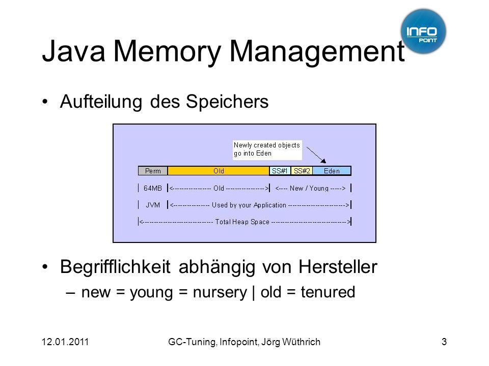 12.01.2011GC-Tuning, Infopoint, Jörg Wüthrich3 Java Memory Management Aufteilung des Speichers Begrifflichkeit abhängig von Hersteller –new = young =