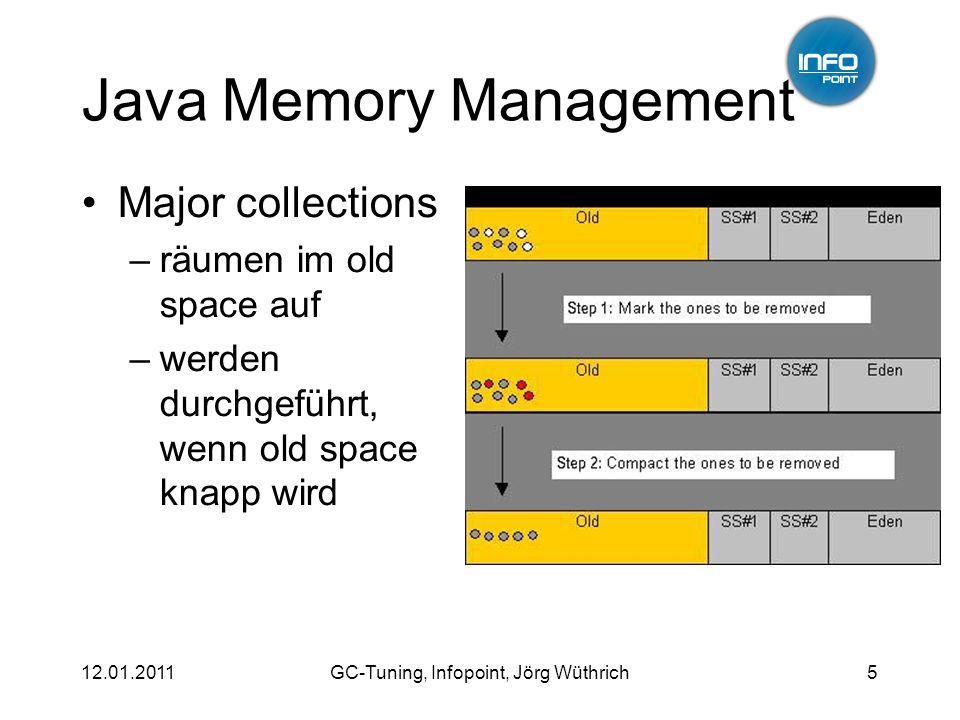 12.01.2011GC-Tuning, Infopoint, Jörg Wüthrich5 Java Memory Management Major collections –räumen im old space auf –werden durchgeführt, wenn old space