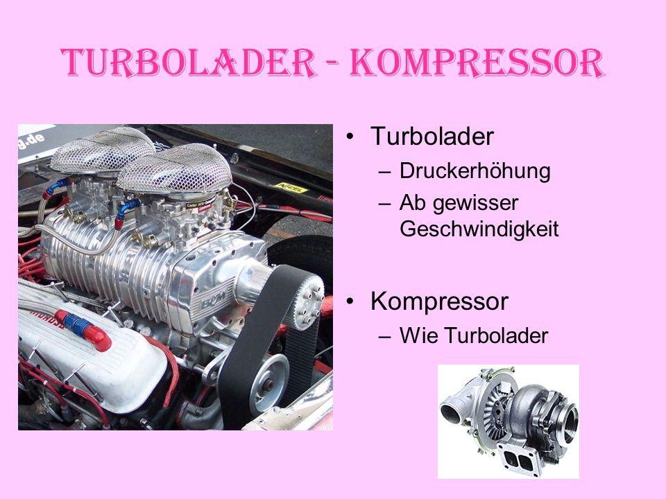 Turbolader - Kompressor Turbolader –Druckerhöhung –Ab gewisser Geschwindigkeit Kompressor –Wie Turbolader