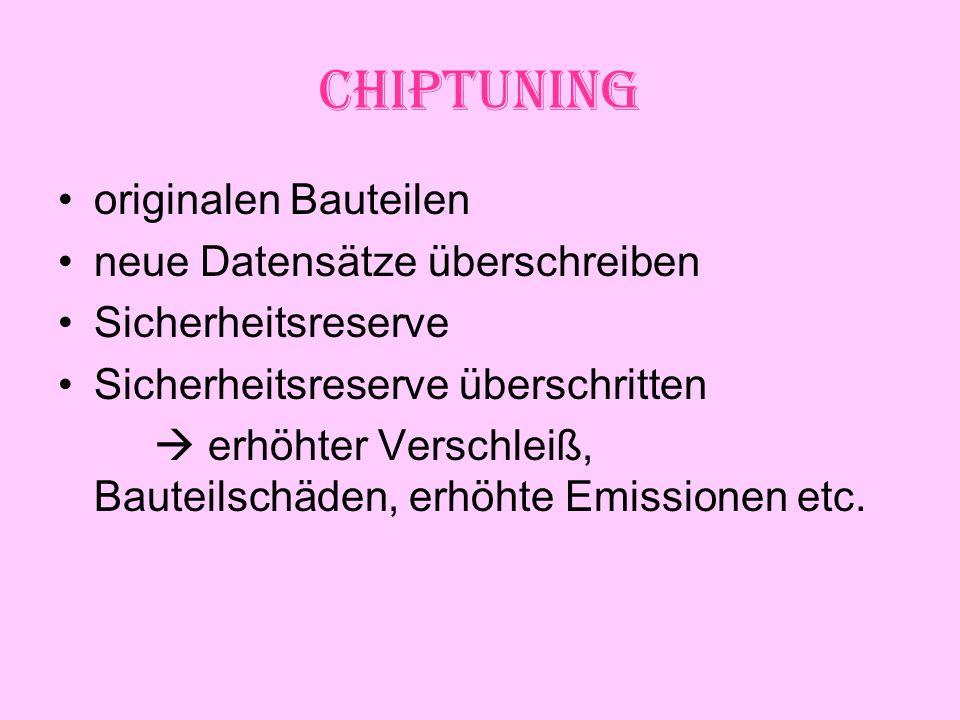 Chiptuning originalen Bauteilen neue Datensätze überschreiben Sicherheitsreserve Sicherheitsreserve überschritten erhöhter Verschleiß, Bauteilschäden, erhöhte Emissionen etc.