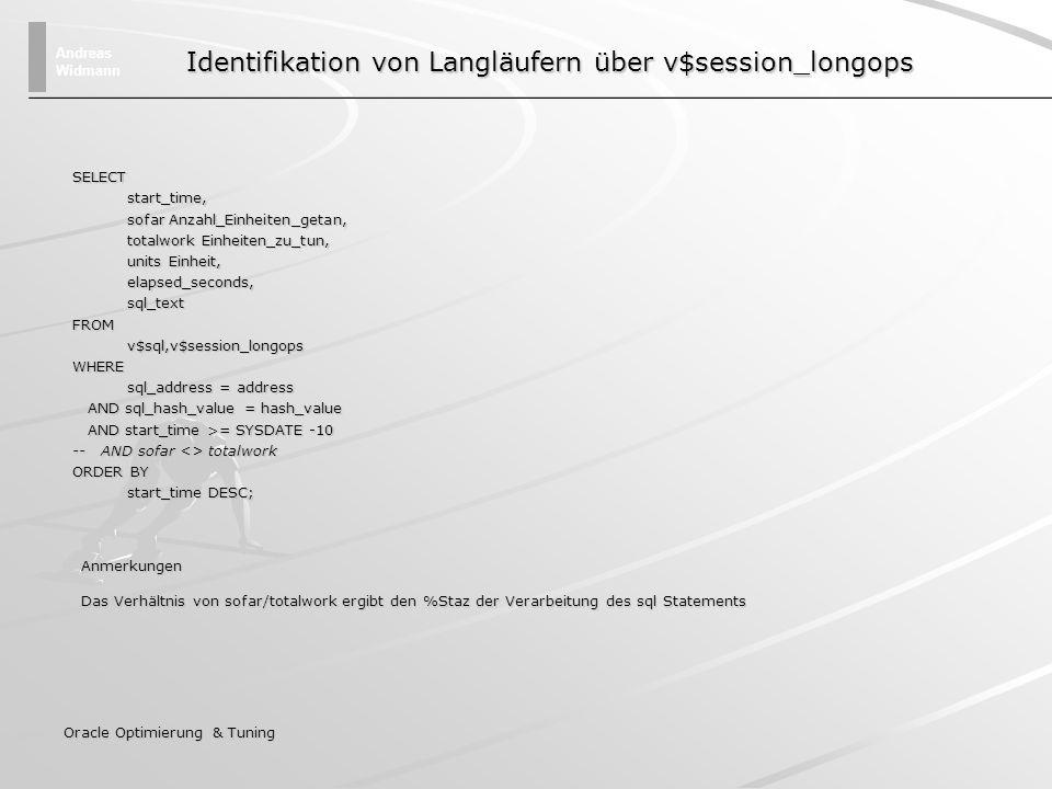 Andreas Widmann Oracle Optimierung & Tuning SELECT start_time, start_time, sofar Anzahl_Einheiten_getan, sofar Anzahl_Einheiten_getan, totalwork Einhe
