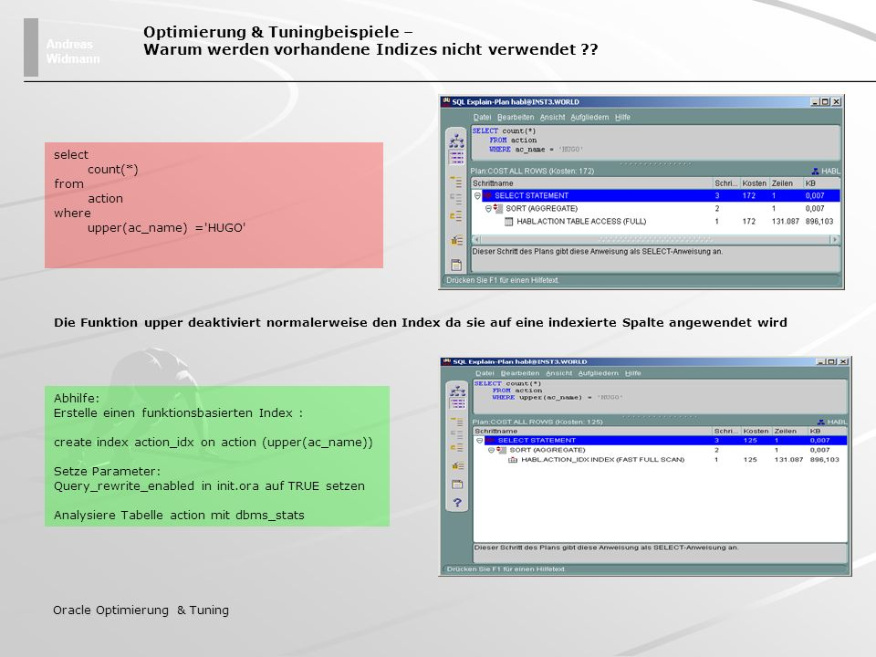 Andreas Widmann Oracle Optimierung & Tuning select count(*) from action where upper(ac_name) ='HUGO' Optimierung & Tuningbeispiele – Warum werden vorh