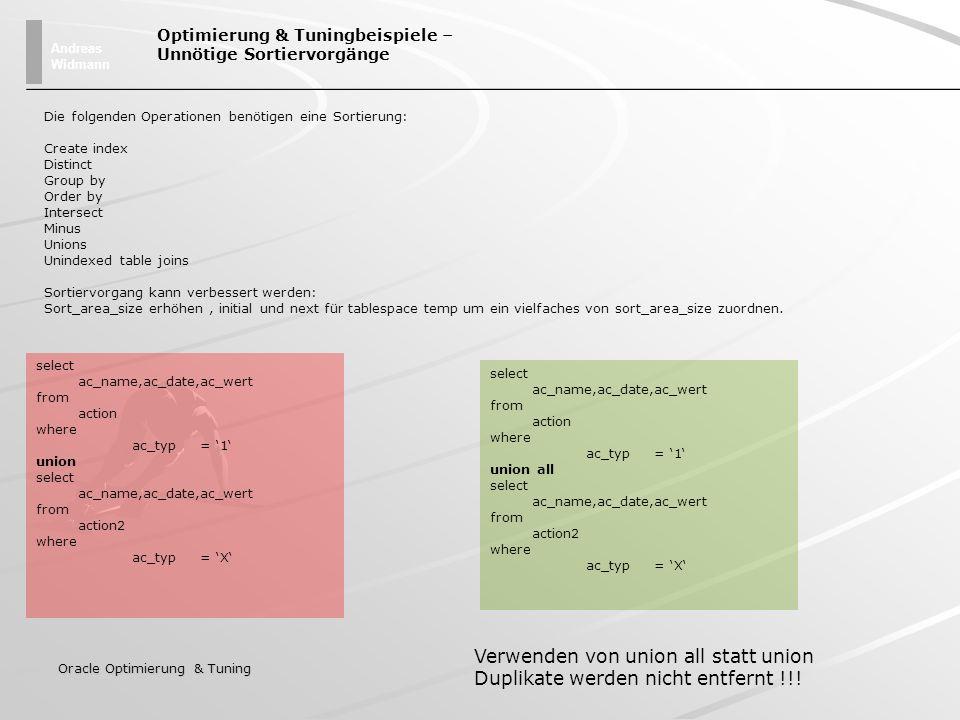 Andreas Widmann Oracle Optimierung & Tuning Optimierung & Tuningbeispiele – Unnötige Sortiervorgänge Die folgenden Operationen benötigen eine Sortieru