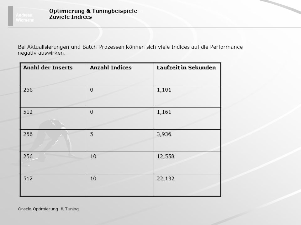 Andreas Widmann Oracle Optimierung & Tuning Optimierung & Tuningbeispiele – Zuviele Indices Bei Aktualisierungen und Batch-Prozessen können sich viele