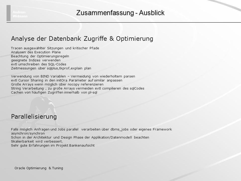 Andreas Widmann Oracle Optimierung & Tuning Zusammenfassung - Ausblick Analyse der Datenbank Zugriffe & Optimierung Tracen ausgewählter Sitzungen und