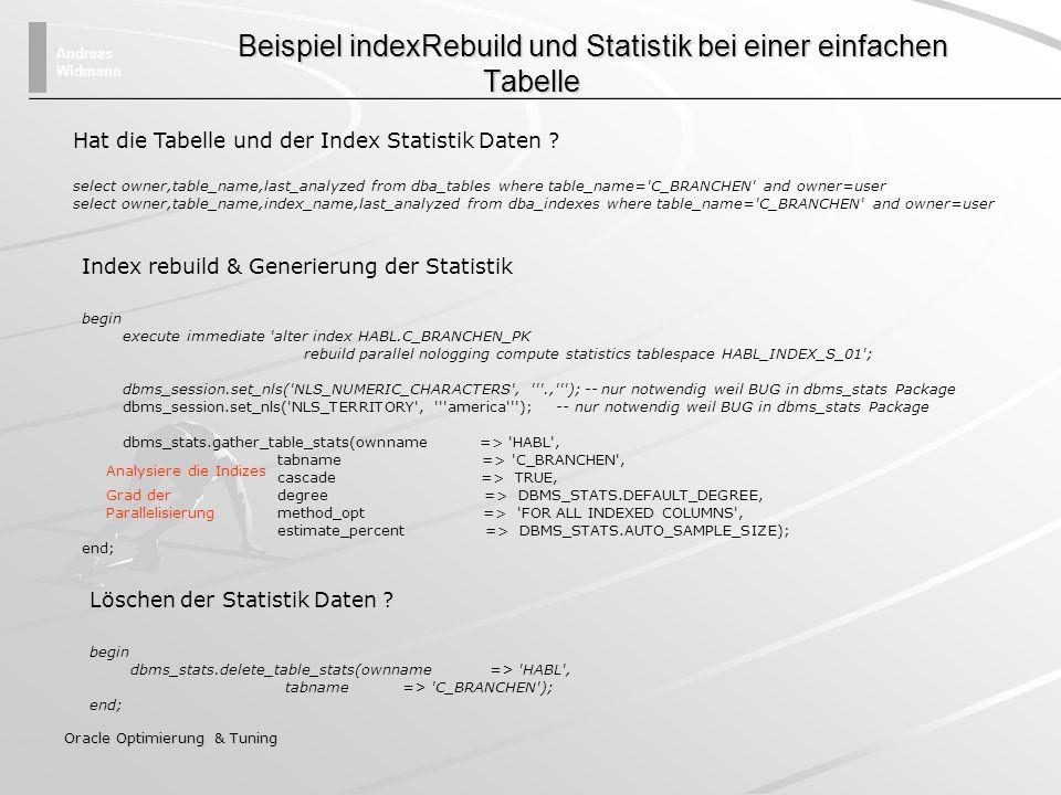 Andreas Widmann Oracle Optimierung & Tuning Beispiel indexRebuild und Statistik bei einer einfachen Tabelle Beispiel indexRebuild und Statistik bei ei