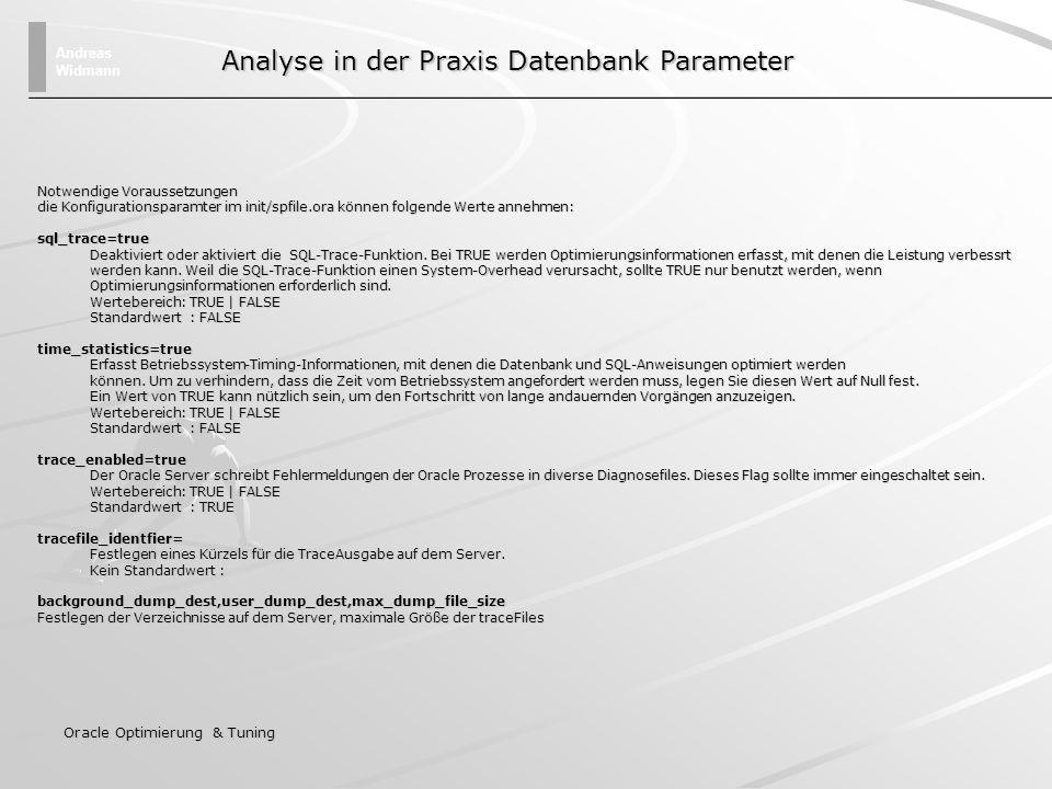 Andreas Widmann Oracle Optimierung & Tuning Abgelaufen: 00:00:05.08 Ausführungsplan ---------------------------------------------------------- 0 SELECT STATEMENT Optimizer=CHOOSE 0 SELECT STATEMENT Optimizer=CHOOSE 1 0 SORT (AGGREGATE) 1 0 SORT (AGGREGATE) 2 1 TABLE ACCESS (FULL) OF DUAL 2 1 TABLE ACCESS (FULL) OF DUAL Statistiken-------------- 0 recursive calls 0 recursive calls 0 db block gets 0 db block gets 3 consistent gets 3 consistent gets 0 physical reads 0 physical reads 0 redo size 0 redo size 212 bytes sent via SQL*Net to client 212 bytes sent via SQL*Net to client 271 bytes received via SQL*Net from client 271 bytes received via SQL*Net from client 2 SQL*Net roundtrips to/from client 2 SQL*Net roundtrips to/from client 0 sorts (memory) 0 sorts (memory) 0 sorts (disk) 0 sorts (disk) 1 rows processed 1 rows processed Analyse Tools in der Praxis Ausführungsplan und Zeitermittlung Beispiel Session mit SQL-PLUS SQL> set autotrace on SQL> set timing on SQL> select count(*) from dual; COUNT(*)---------- 1
