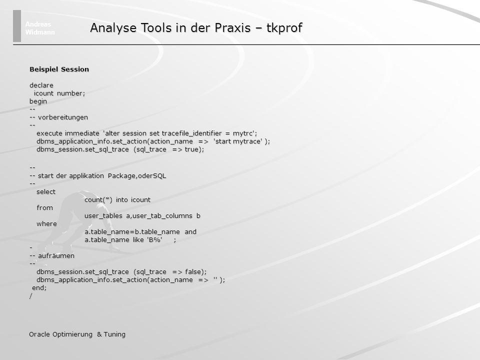 Andreas Widmann Oracle Optimierung & Tuning Beispiel Session Auf dem Datenbank Server wurde ein Tracefile für diese Session im udump-Verzeichnis angelegt inst3_ora_16684_MYTRC.trc tkprof inst3_ora_16684_MYTRC.trc inst3_ora_16684_MYTRC.txt explain=usr/pwd@inst3 sort=fchela Die von der Datenbank geschriebenen Trace Dateien sind nur schwer lesbar, deshalb müssen diese mit dem Programm tkprof auf eine lesbare Form gebracht werden.
