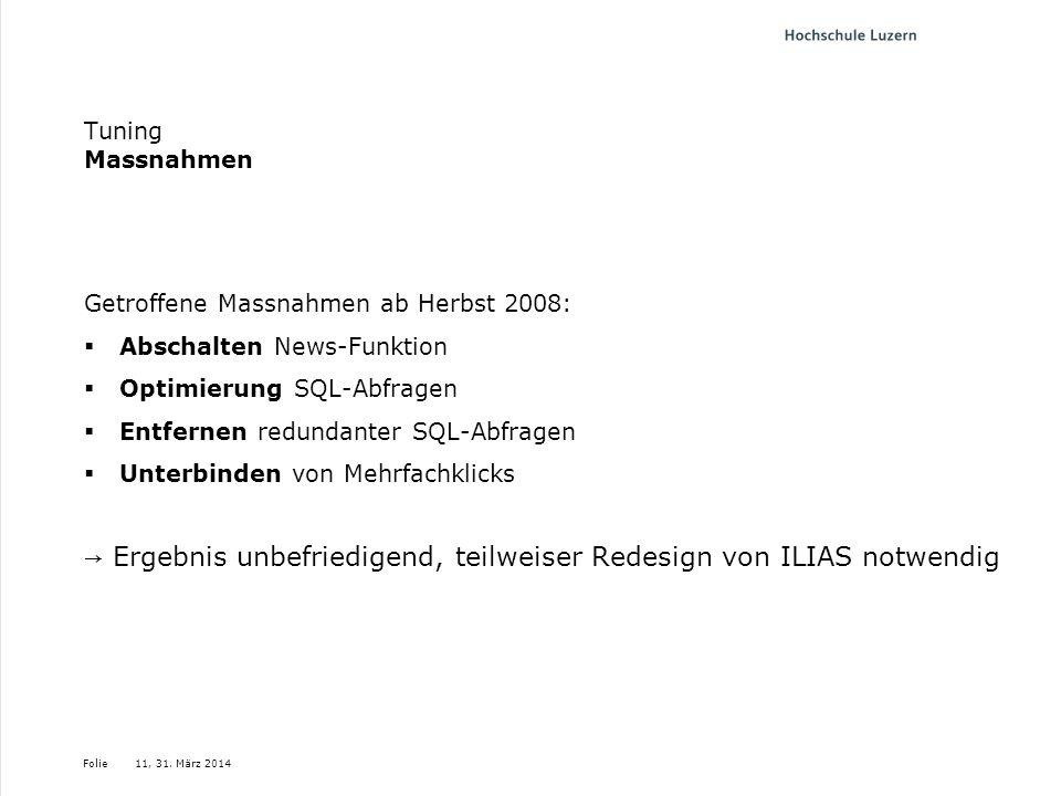 Folie Tuning Massnahmen Getroffene Massnahmen ab Herbst 2008: Abschalten News-Funktion Optimierung SQL-Abfragen Entfernen redundanter SQL-Abfragen Unt