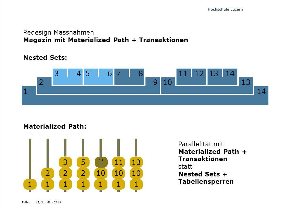 Folie Nested Sets: 17, 31. März 2014 Materialized Path: 114 27 3456 813101329 345611121112131478 1111 22 3 1 2 7 2 5 1 10 11 10 13 11 Parallelität mit