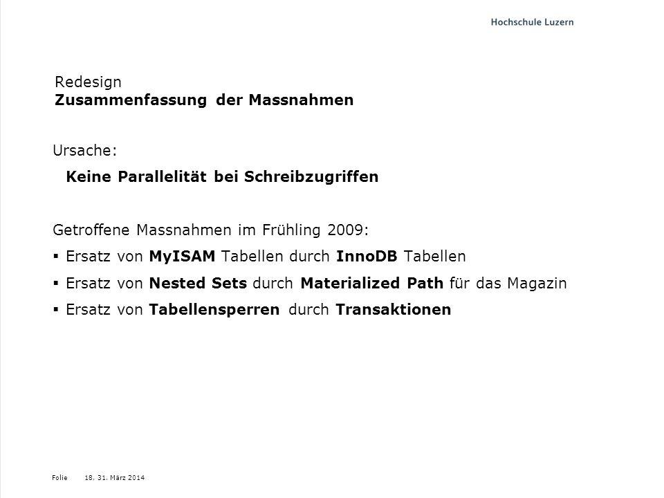 Folie Redesign Zusammenfassung der Massnahmen Ursache: Keine Parallelität bei Schreibzugriffen Getroffene Massnahmen im Frühling 2009: Ersatz von MyIS