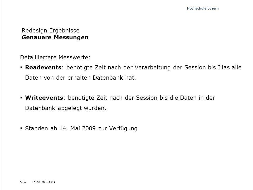 Folie19, 31. März 2014 Redesign Ergebnisse Genauere Messungen Detailliertere Messwerte: Readevents: benötigte Zeit nach der Verarbeitung der Session b