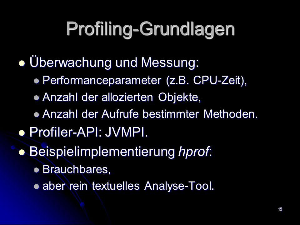 15 Profiling-Grundlagen Überwachung und Messung: Überwachung und Messung: Performanceparameter (z.B.