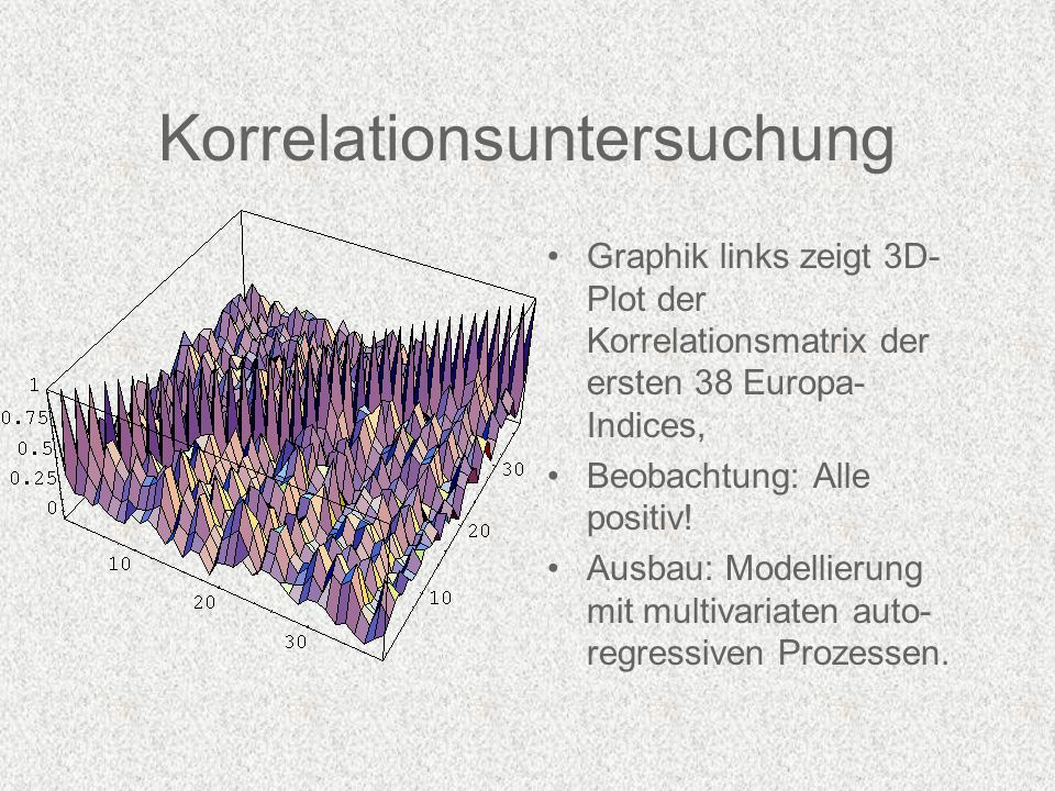 Korrelationsuntersuchung Graphik links zeigt 3D- Plot der Korrelationsmatrix der ersten 38 Europa- Indices, Beobachtung: Alle positiv.