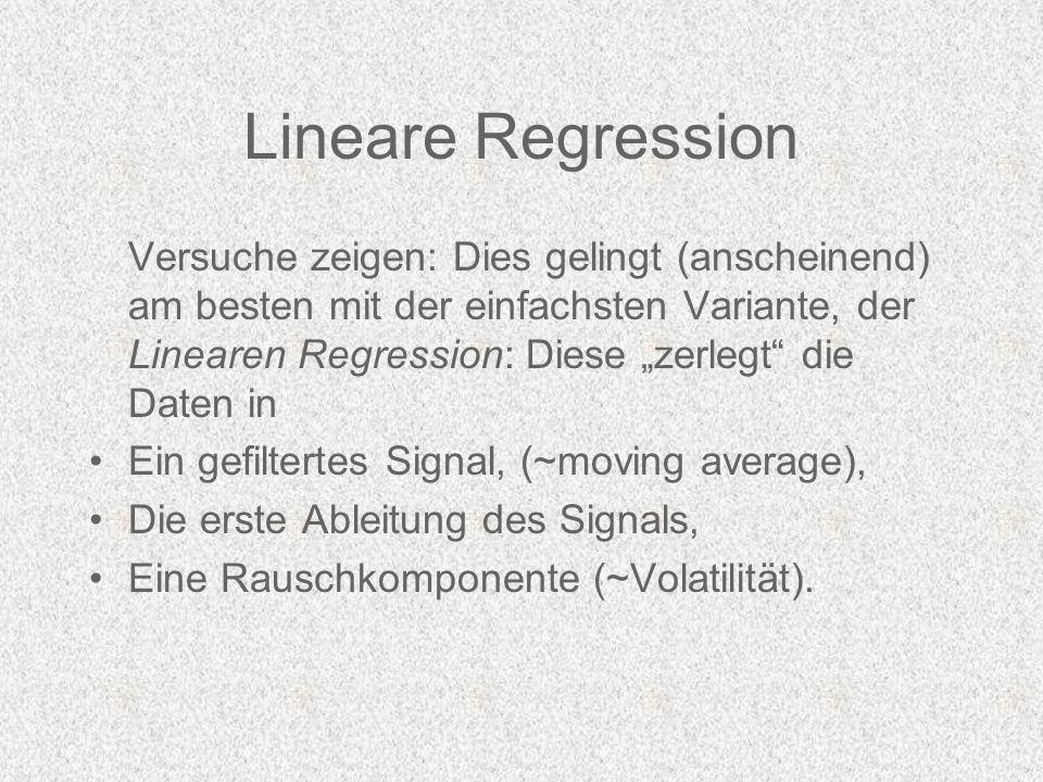 Lineare Regression Versuche zeigen: Dies gelingt (anscheinend) am besten mit der einfachsten Variante, der Linearen Regression: Diese zerlegt die Daten in Ein gefiltertes Signal, (~moving average), Die erste Ableitung des Signals, Eine Rauschkomponente (~Volatilität).