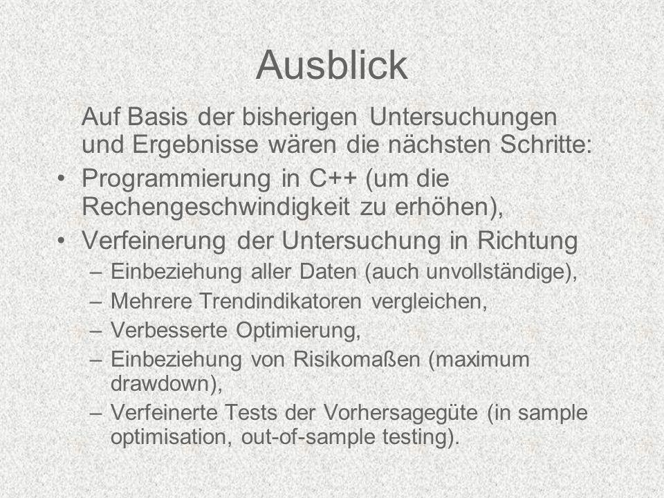Ausblick Auf Basis der bisherigen Untersuchungen und Ergebnisse wären die nächsten Schritte: Programmierung in C++ (um die Rechengeschwindigkeit zu erhöhen), Verfeinerung der Untersuchung in Richtung –Einbeziehung aller Daten (auch unvollständige), –Mehrere Trendindikatoren vergleichen, –Verbesserte Optimierung, –Einbeziehung von Risikomaßen (maximum drawdown), –Verfeinerte Tests der Vorhersagegüte (in sample optimisation, out-of-sample testing).
