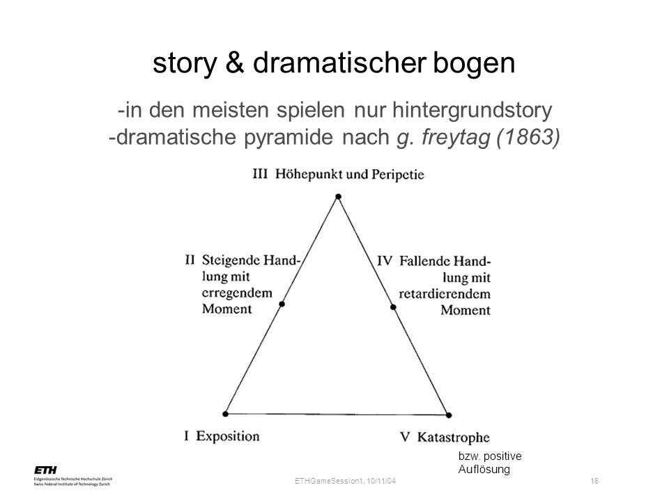 ETHGameSession1, 10/11/04 16 story & dramatischer bogen -in den meisten spielen nur hintergrundstory -dramatische pyramide nach g. freytag (1863) bzw.