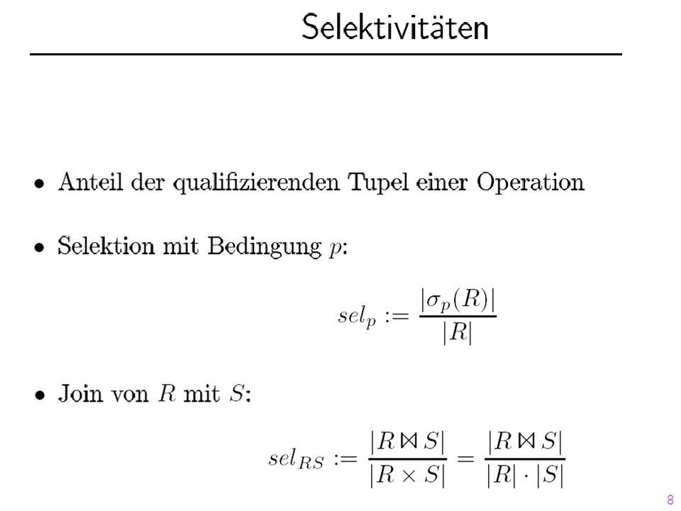 19 Dynamische Programmierung II Identifikation von 3 Phasen 1.Access Root - Phase: Aufzählen der Zugriffspläne 2.Join Root - Phase: Aufzählen der Join-Kombinationen 3.Finish Root - Phase: sort, group-by, etc.