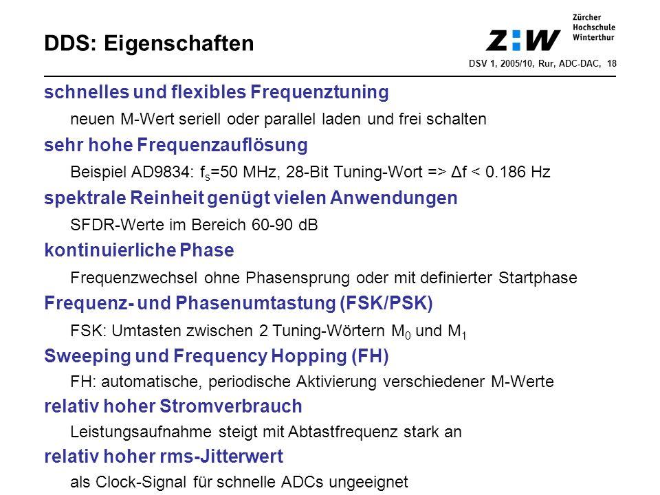 DDS: Eigenschaften schnelles und flexibles Frequenztuning neuen M-Wert seriell oder parallel laden und frei schalten sehr hohe Frequenzauflösung Beisp