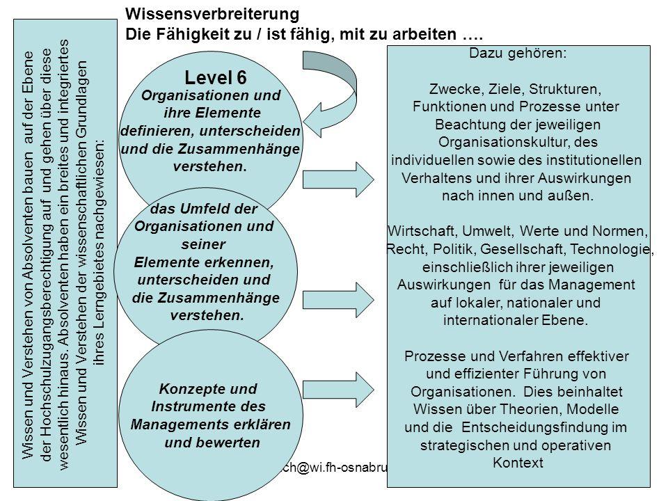 gehmlich@wi.fh-osnabrueck.de13 Wissen und Verstehen von Absolventen bauen auf der Ebene der Hochschulzugangsberechtigung auf und gehen über diese wese