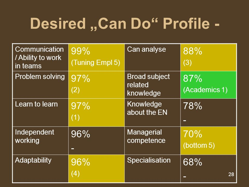 28 Desired Can Do Profile - Communication / Ability to work in teams 99% (Tuning Empl 5) Can analyse 88% (3) Problem solving 97% (2) Broad subject rel