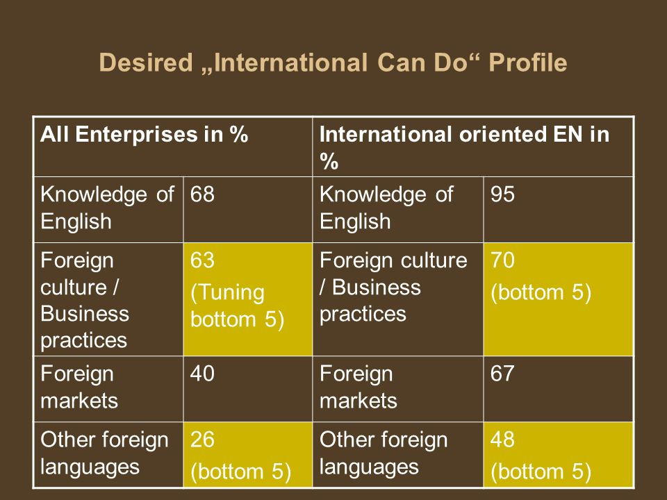 29 Desired International Can Do Profile All Enterprises in %International oriented EN in % Knowledge of English 68Knowledge of English 95 Foreign cult
