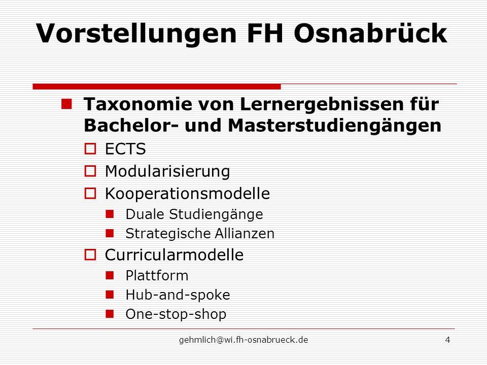 gehmlich@wi.fh-osnabrueck.de4 Vorstellungen FH Osnabrück Taxonomie von Lernergebnissen für Bachelor- und Masterstudiengängen ECTS Modularisierung Koop