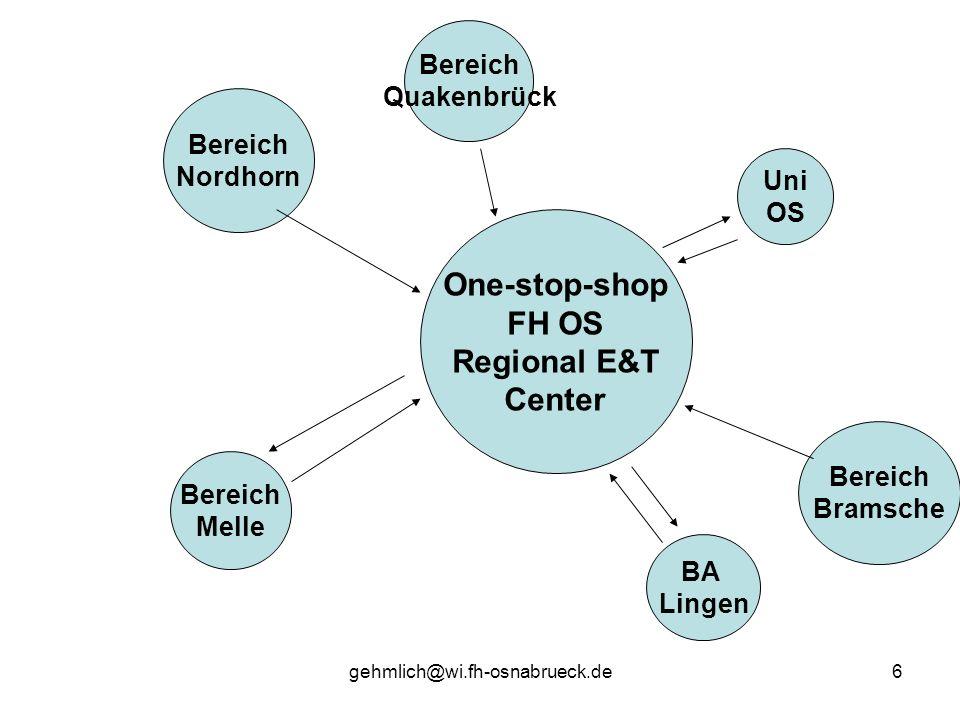 gehmlich@wi.fh-osnabrueck.de6 One-stop-shop FH OS Regional E&T Center Uni OS BA Lingen Bereich Nordhorn Bereich Bramsche Bereich Quakenbrück Bereich M