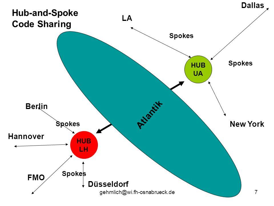 gehmlich@wi.fh-osnabrueck.de7 HUB LH HUB UA Atlantik Hub-and-Spoke Code Sharing Berlin FMO Düsseldorf Hannover LA New York Dallas Spokes
