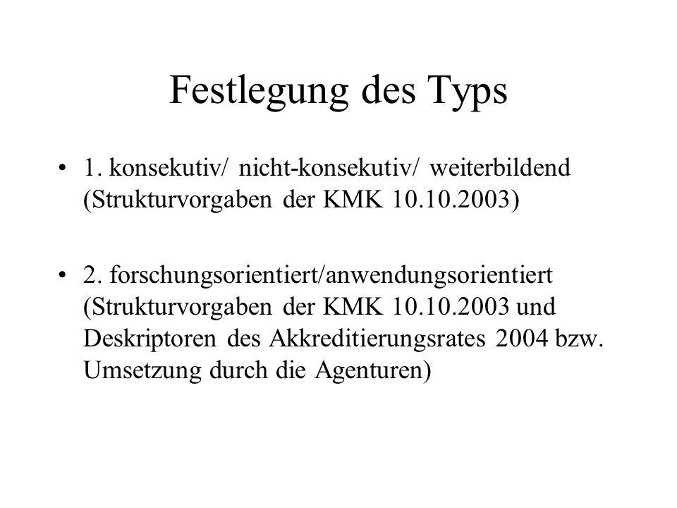 Festlegung des Typs 1. konsekutiv/ nicht-konsekutiv/ weiterbildend (Strukturvorgaben der KMK 10.10.2003) 2. forschungsorientiert/anwendungsorientiert