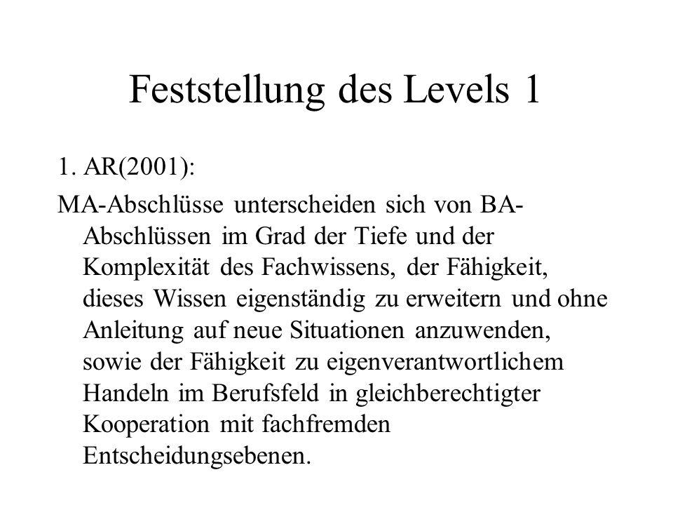 Feststellung des Levels 1 1. AR(2001): MA-Abschlüsse unterscheiden sich von BA- Abschlüssen im Grad der Tiefe und der Komplexität des Fachwissens, der