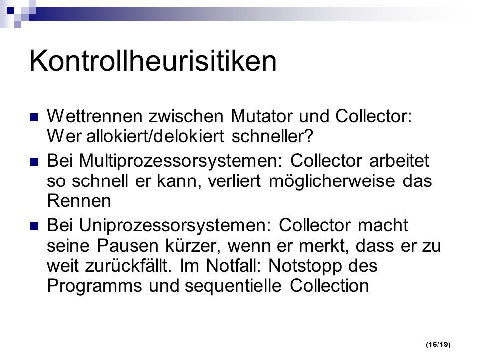 (16/19) Kontrollheurisitiken Wettrennen zwischen Mutator und Collector: Wer allokiert/delokiert schneller.