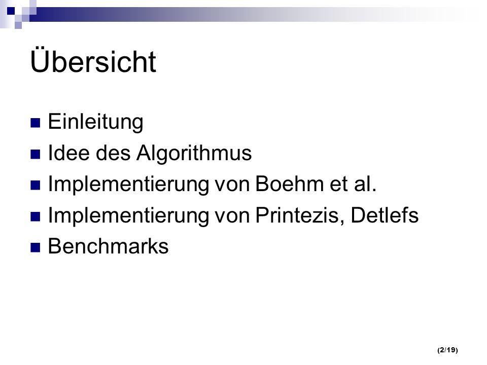 (2/19) Übersicht Einleitung Idee des Algorithmus Implementierung von Boehm et al.
