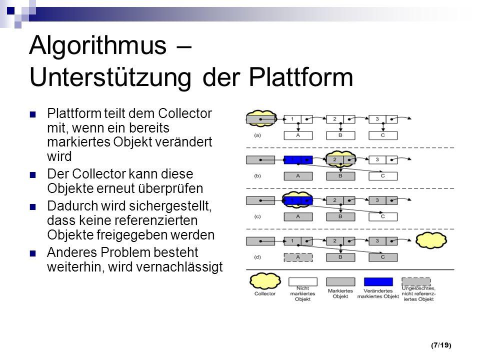 (7/19) Algorithmus – Unterstützung der Plattform Plattform teilt dem Collector mit, wenn ein bereits markiertes Objekt verändert wird Der Collector kann diese Objekte erneut überprüfen Dadurch wird sichergestellt, dass keine referenzierten Objekte freigegeben werden Anderes Problem besteht weiterhin, wird vernachlässigt