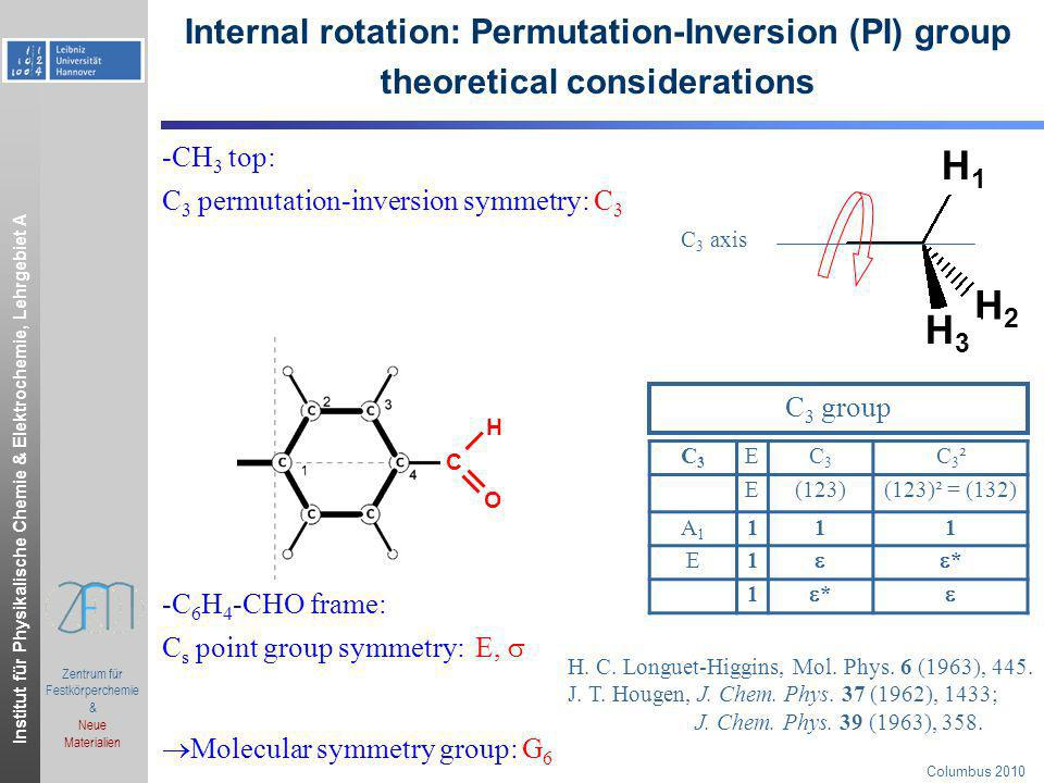 Institut für Physikalische Chemie & Elektrochemie, Lehrgebiet A.ppt Zentrum für Festkörperchemie & Neue Materialien Columbus 2010 tunnel-pathways, tunnel-Hamilton matrix, energy level split diagram K=0, v t =0 symmetric matrix, 2 eigenvalues: W 1 = W(A 1 )=H 11 +2H E W 2 =W 3 =W(E 1 )=H 11 -H E H tunneling : rotation of CH 3 -group H 11 HEHE HEHE HEHE 3 (feasible) equivalent tunneling pathways in total: C 3 axis H1H1 H2H2 H3H3 Γ(G 6 ) J 0J E1E1 A1A1 2H tunneling H tunneling