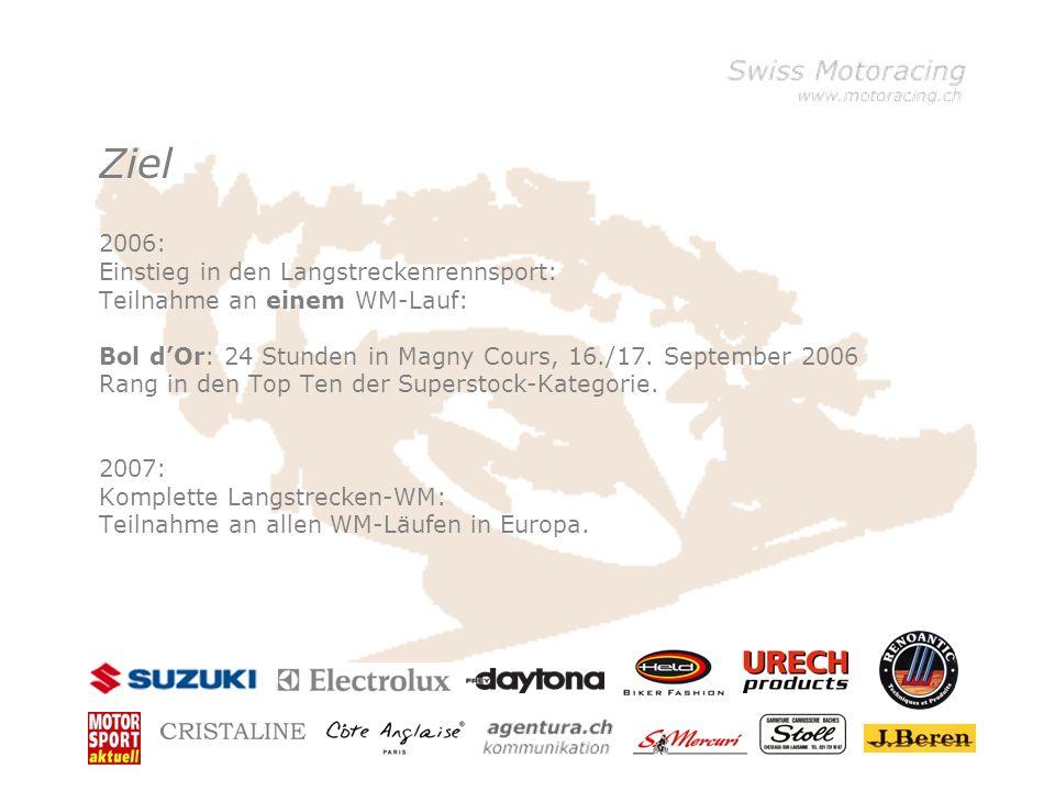Ziel 2006: Einstieg in den Langstreckenrennsport: Teilnahme an einem WM-Lauf: Bol dOr: 24 Stunden in Magny Cours, 16./17.