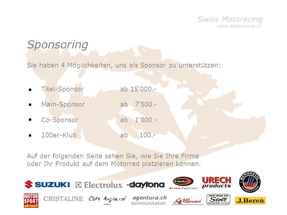 Sponsoring Titel-Sponsor Main-Sponsor Co-Sponsor 100er-Klub ab 15000.- ab 7500.- ab 1000.- ab 100.- Sie haben 4 Möglichkeiten, uns als Sponsor zu unterstützen: Auf der folgenden Seite sehen Sie, wie Sie Ihre Firma oder Ihr Produkt auf dem Motorrad platzieren können.